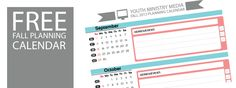 Free fall planning calendar for youth ministry Freebie Friday: Fall Planning Calendar