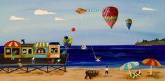 Summer on McGillicutty Bay -modern American Folk Art Painting