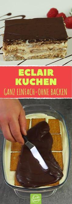 Eclair-Kuchen-Rezept ohne Backen mit Keksen und Pudding