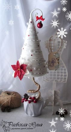Christmas tree from felt Cone Christmas Trees, Crochet Christmas Trees, Handmade Christmas Tree, Miniature Christmas, Felt Christmas, Christmas Holidays, Christmas Ornaments, Christmas Centerpieces, Xmas Decorations