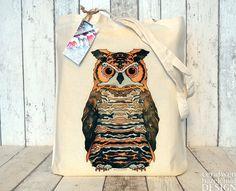 Eagle Owl Illustration Eco Cotton Tote Bag
