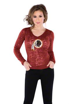 Washington Redskins Women's Burnout Team Long Sleeve Thermal - by Alyssa Milano