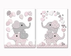 Pink grey elephants with balloons nursery art kids room hearts wall decor baby girl artwork toddler poster shower decoration newborn gift