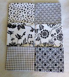 Rosecliff Manor Riley Blake Cotton Fabric~6 Fat Quarters Black on White FQ101