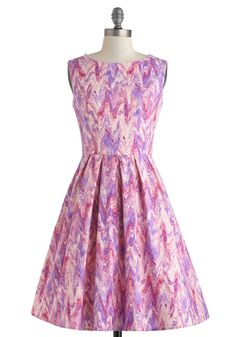 Chalk of the Town Dress. As you stand up and admire the artwork that you and your young neighbor have just decorated the sidewalk with, you feel a few surprising raindrops fall on your head. #pink #modcloth