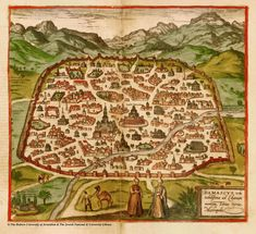 possible 15th c map of Damascus, at the Hebrew University of Jerusalem, and the Jewish National and University Library.