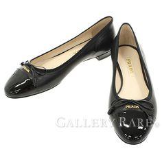 プラダ フラットシューズ レディースサイズ 38 PRADA パンプス リボン 靴
