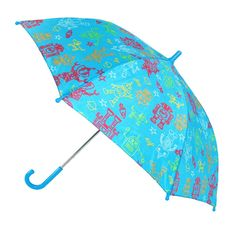 This cute space robot umbrella is a great way to keep your child from getting soaked in the rain. The pinch-proof runner is easy to maneuver up and down to open and close the umbrella on their own.