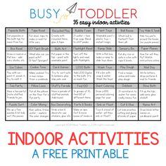 Easy Indoor Activity List for Kids
