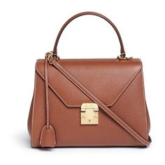 Mark Cross 'Hadley Small Flap' pebbled leather bag (18.075 NOK) ❤ liked on Polyvore featuring bags, handbags, shoulder bags, brown, flap shoulder bag, brown hand bags, flap handbags, man bag and pebbled leather handbags