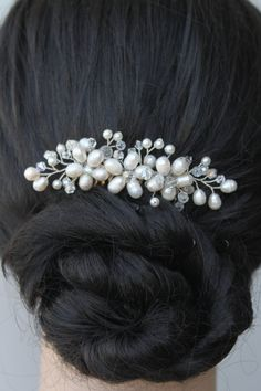 Freshwater Pearl White Pearl Floral Bridal Hair Comb by ForTheStar