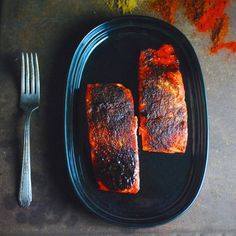 Oven Roasted Maple BBQ Salmon - easy, protein-packed recipe ready in 25 minutes. Paleo, gluten free.