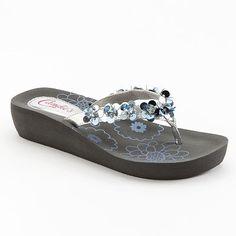 3757811ef2483 Candie s® Sequins   Floral Wedge Flip-Flops - Women