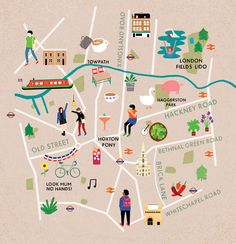 Map of East London for Aer Lingus' Cara Magazine from Fuchsia MacAree