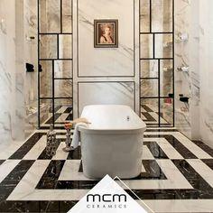 Özel kesimler ile tasarım banyolar MCM Seramik'te. Siyah ve beyazın asaletiyle Thasos ve Tire stil sahibi mekanlar yaratıyor. #banyo #seramik #mozaik #ceramic #mosaic