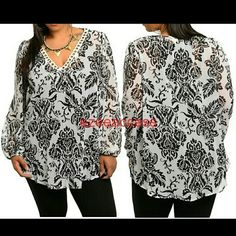 "Plus size sheer tunic top blouse long sleeves NWT Sheer tunic top blouse shirt. Brand New with tags. plus size tunic top black and white print. Long sleeves.  semi Sheer fabric. Lightweight fabric. Damask pattern print Scalloped ring embellished V-neckline.  Blouson style cuffs. Hi Low Hemline. MEASUREMENTS Loose fit. Total Length = 30"" Boutique  Tops Tunics"