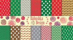 Christmas Papers  Digital Paper Pack  Set of 14 by babushkadesign, $4.90