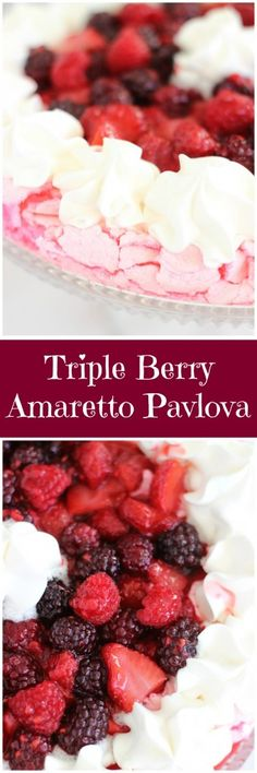 A light and airy pink-tinted and almond-flavored pavlova, topped with a triple berry amaretto sauce – strawberries, blackberries, and raspberries!