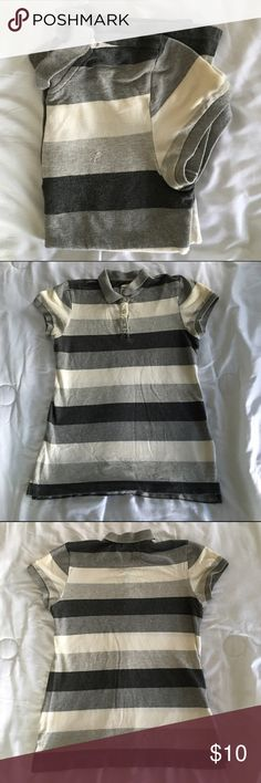 Old Navy striped polo tee shirt Old Navy striped polo tee shirt. Size M. Good condition. Light pulling from washing. Reasonable offer accepted! Old Navy Tops Tees - Short Sleeve