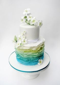 Ombré ruffle cake in blues and greens Gorgeous Cakes, Pretty Cakes, Amazing Cakes, Fondant Cakes, Cupcake Cakes, Cupcakes, Cake Original, Ruffle Cake, Cake Gallery