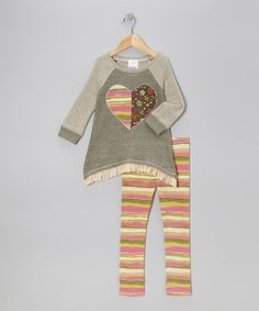Take a look at this Olive Heart Tunic & Pink Stripe Leggings - Toddler & Girls by Freckles + Kitty on #zulily today!