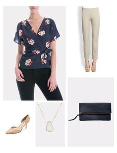 The Nelly Wrap Blouse from Corey is a perfect top for day to night wear. This feminine floral top has a classic wrap shape and sheer short sleeves. Wear this top with trousers, denim, or a pencil skirt. Great desk to dinner look when you add a clutch!