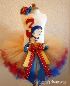 Birthday Caillou tutu set in primary colors Red by TooTuTuCute, $40.95
