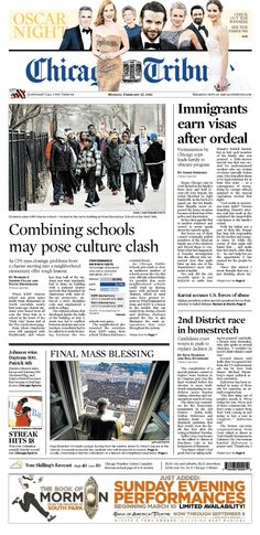 Feb. 25, 2013: Combining schools could pose culture clash - also an editorial about why it's necessary. And Mark Caro was backstage at the Oscars - he has the recap.