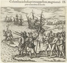 The First Landing Of Columbus On San Salvador Island (Blue), West Indies. Christopher Columbus To Italian Navigator, Colonizer And Explorer. From The Great Explorers Columbus And Vasco Da Gama, After A Print In De Bry's Voyages, Poster Print x Fernand De Magellan, Christoffel Columbus, Piri Reis Map, Christoph Kolumbus, Native American Population, Native Americans, Real Academia Española, Christian Names, Early Explorers