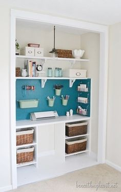 This is a great way to transform a closet space. Using a plain old peg board solves tons of organizational issue especially if you are a crafter, but painting it is just a great idea!   12 Creative Craft Closets {amazing ideas} - EverythingEtsy.com