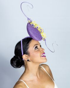 Lilac and lemon percher with handpainted lace detail  Hatricks by  MIchelle millinery. Collaboration with Echo Blue Photography, Anaste hair and makeup. Model Carlie.