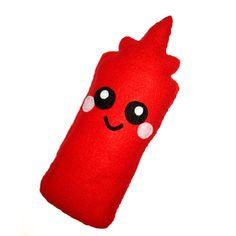 Cute Condiment Ketchup Sauce Bottle Plush Cushion.