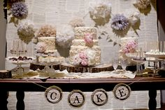 Cake table- love the decor in the back too!
