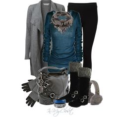 Cute winter wear outfit with blue, grey and black Fall Winter Outfits, Winter Wear, Autumn Winter Fashion, Winter Clothes, Summer Outfits, Mode Outfits, Casual Outfits, Fashion Outfits, Womens Fashion