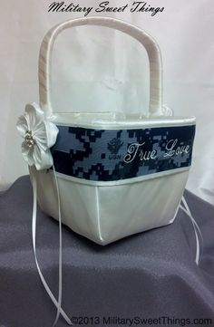 """Military themed flower girl basket. Navy camo """"True Love"""" wedding basket made by Military Sweet Things."""