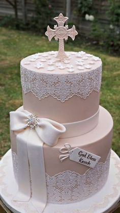 Trendy cake girl christening first communion Christening Cake Girls, Baby Girl Baptism, Baptism Cakes, Comunion Cakes, Bolo Fack, First Holy Communion Cake, Religious Cakes, Confirmation Cakes, Communion Dresses