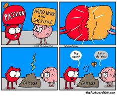 40 Heart and Brain cartoons from The Awkward Yeti — Unreal Side of entertainment Heart And Brain Comic, Heart Vs Mind, The Awkward Yeti, Awkward Funny, Life Comics, Science Quotes, Funny Science, Funny Memes, Hilarious