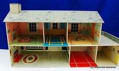 Vintage-Marx-Toys-Tin-Litho-Two-Story-Doll-House-with-37-Pieces-of-Furniture