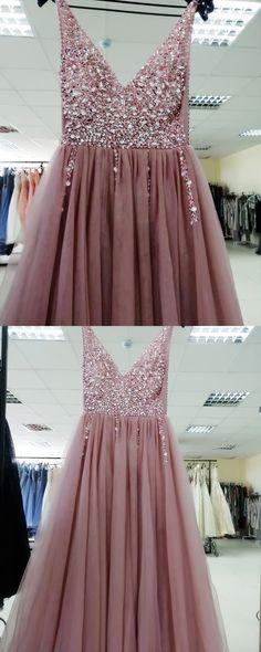 Beaded Blush Pink Long Formal Dresses, V Neck Blush Pink Formal Dresses Evening Dresses Pink Formal Dresses, Hoco Dresses, Cheap Prom Dresses, Formal Evening Dresses, Elegant Dresses, Homecoming Dresses, Evening Gowns, Casual Dresses, Wedding Dresses