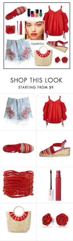 """""""Espadrilles!"""" by diane1234 ❤ liked on Polyvore featuring River Island, Berry, Maybelline, Hat Attack and Bling Jewelry"""