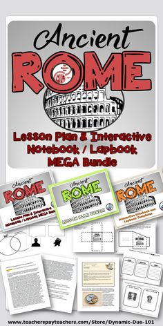 Ancient Rome Lesson Plans and Interactive Notebook Lapbook with Assessment Mega Bundle Includes: Unit contains 14 detailed and editable lesson plans / thematic unit plans with Higher Order Thinking Questions and loads of Interactive Notebook / Lapbook activities!.
