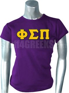 Purple Phi Sigma Pi t-shirt with the Greek letters across the chest.