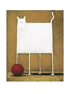 DANIEL KESSLER - White Cat with Ball by Daniel Kessler. I'm not sure if the husband likes these prints, but they are hanging in the bedroom. Graphic Design Illustration, Illustration Art, Cat Doodle, Cat Drawing, Whimsical Art, Cat Art, Amazing Art, Illustrators, Folk Art