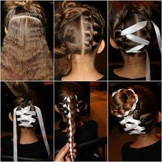 Cute Braided Bun with Ribbon Hairstyle. Cute Girls Hairstyles, Twist Hairstyles, Teenage Hairstyles, Hairdos, Ribbon Hairstyle, Hairstyles With Ribbon, Ribbon Braids, Natural Hair Styles, Long Hair Styles