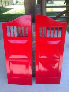 Glossy Red Vintage Saloon Doors on Etsy, $149.99