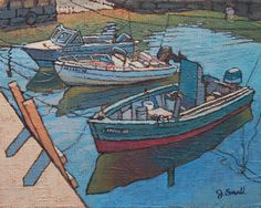 """""""Three Boats,"""" Jonathan Small, 2017, oil on linen mounted on panel, 8 x 10"""", collection of the artist."""