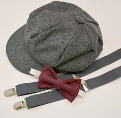 Bow Tie Suspenders Newsboy Cap Hat / Dark Wine Burgundy Bow Tie / Charcoal Gray Suspenders / Kids Baby Page Boy Outfit Set 10 Years Burgundy Bow Tie, Bowtie And Suspenders, Bowties, Baby Boy, Newsboy Cap, How To Make Notes, Baby Size, Baby Month By Month, Caps Hats