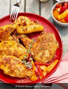 Poulet plancha à la provençale- St SEVER - Brahma Chickens Label Rouge, Batch Cooking, International Recipes, Wok, Tandoori Chicken, Eggplant, Chicken Wings, Poultry, Barbecue