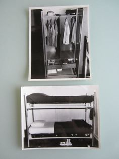 Two 8x10 black and white United States Air Force barracks photographs. A little glimpse into everyday life in the military.