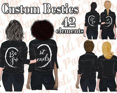 Best Friends Clipart,Custom Besties,Hair (Graphic) by ChiliPapers · Creative Fabrica